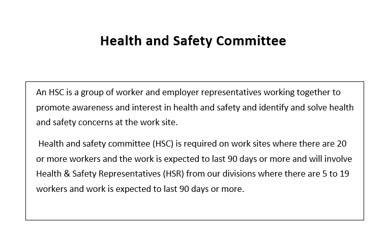 Health & safety Committees and Meetings