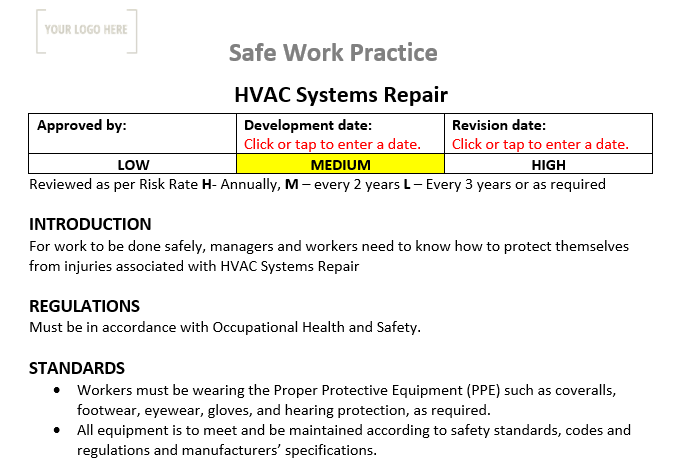 HVAC System Repair & Maintenance Safe Work Practice
