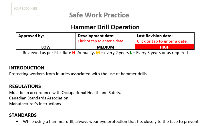 Hammer Drill Operation Safe Work Practice