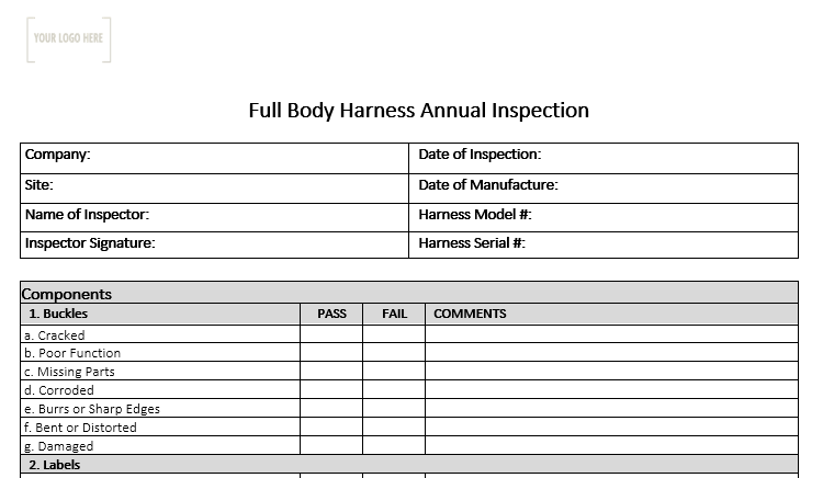 Full Body Harness Annual Inspection