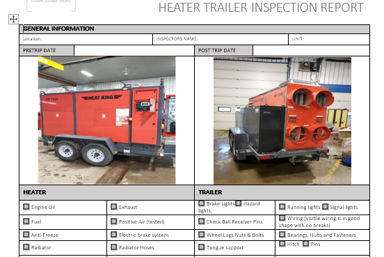 Heater Trailer Inspection