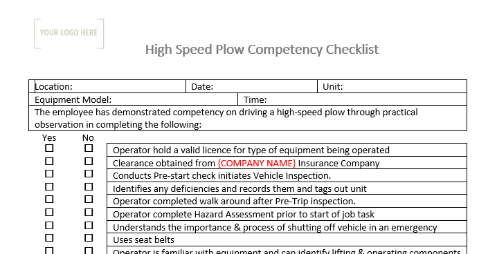 High Speed Snowplow Competency Checklist