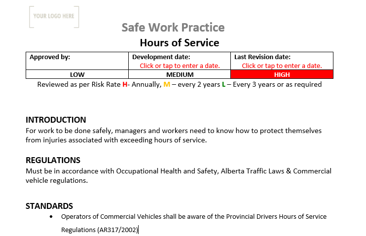 Hours of Service Safe Work Practice