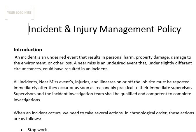 Incident and Injury Management Policy