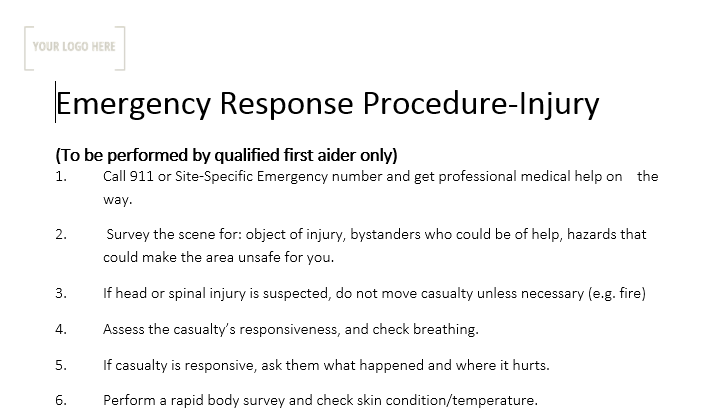 Emergency Response Procedure - Injury