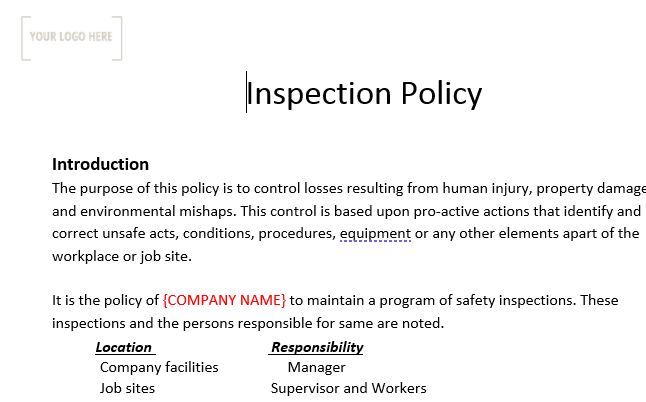 Inspection Policy