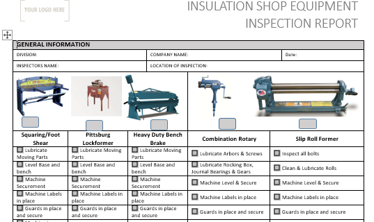 Insulation Shop Equipment Inspection