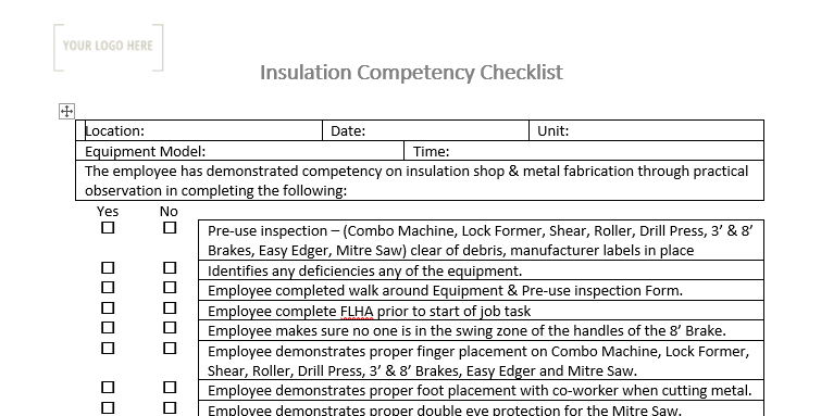 Insulation Brake 3' & 8' Competency Checklist