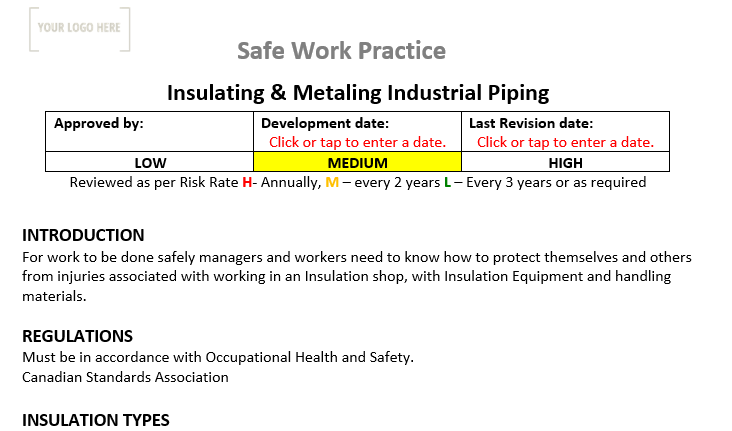 Insulating & Metalling Industrial Piping Safe Work Practice