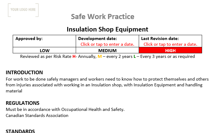 Insulation Shop Equipment Safe Work Practice