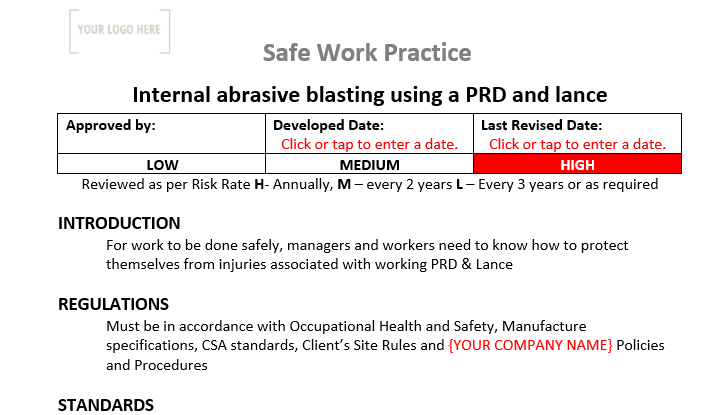 Internal Abrasive blasting using a PRD and lance Safe Work Practice