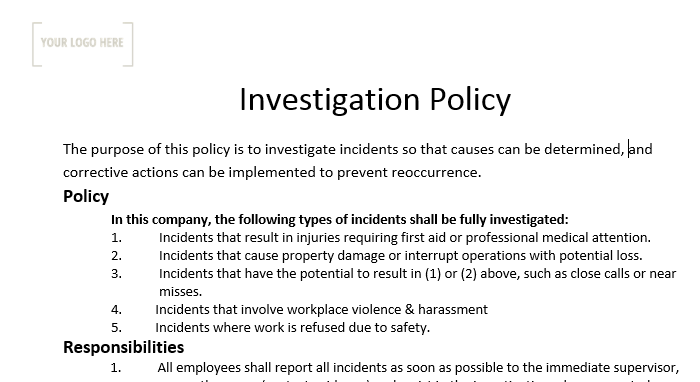 Investigation Policy