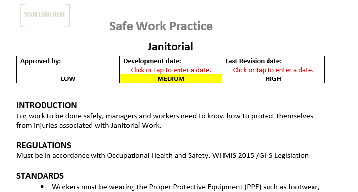 Janitorial Safety Safe Work Practice