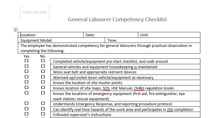 General Laborer Competency Checklist
