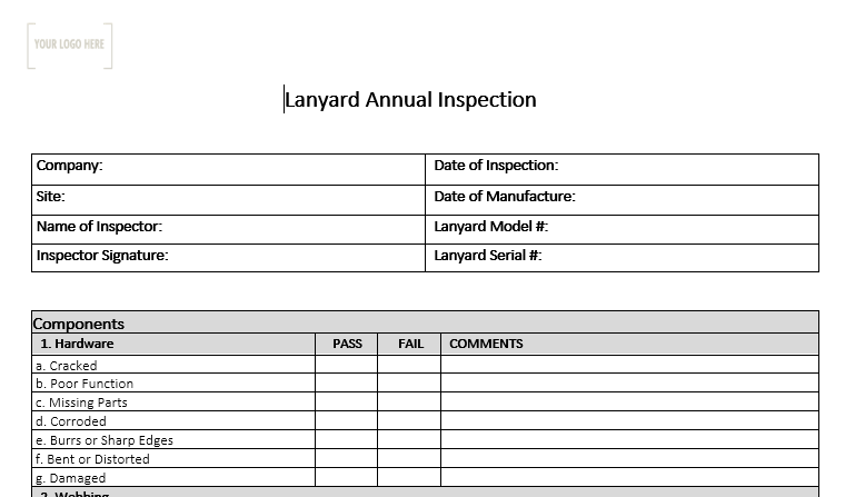 Lanyard Annual Inspection