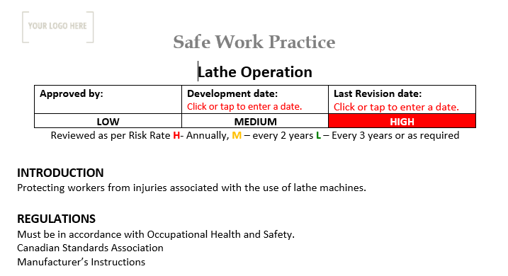 Lathe Operation Safe Work Practice