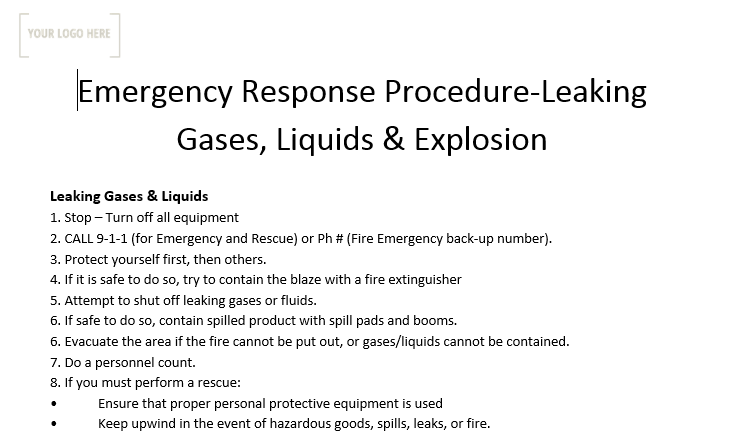 Emergency Response Procedure – Leaking Gases, Liquid and Explosions