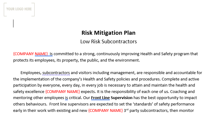 Third Party Risk Mitigation Plan & Assessment