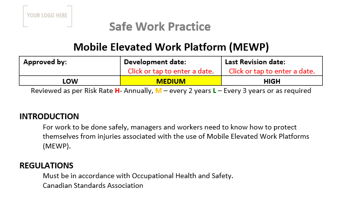 Mobile Elevated Work Platforms Safe Work Practice