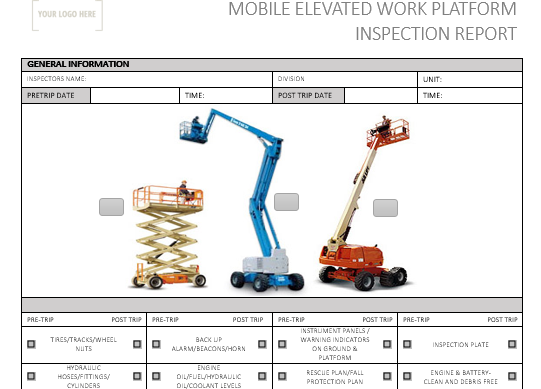 Mobile Elevated Work Platform Pre Use Inspection