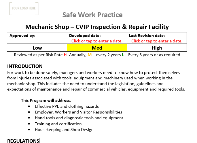 Mechanic Shop CVIP Inspection & Repair Facility Safe Work Practice
