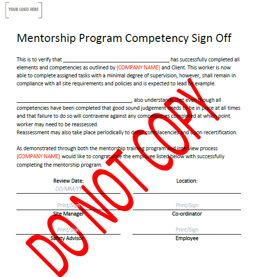 Mentorship Program Sign Off