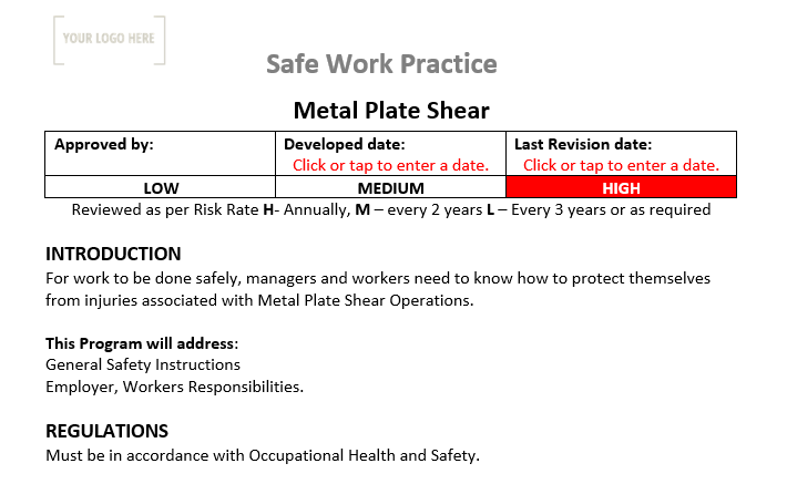 Metal Plate Shear Safe Work Practice