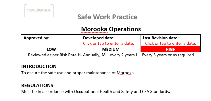 Morooka  Operations Safe Work Practice