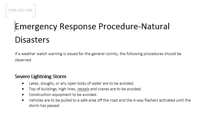 Emergency Response Procedure – Natural Disasters