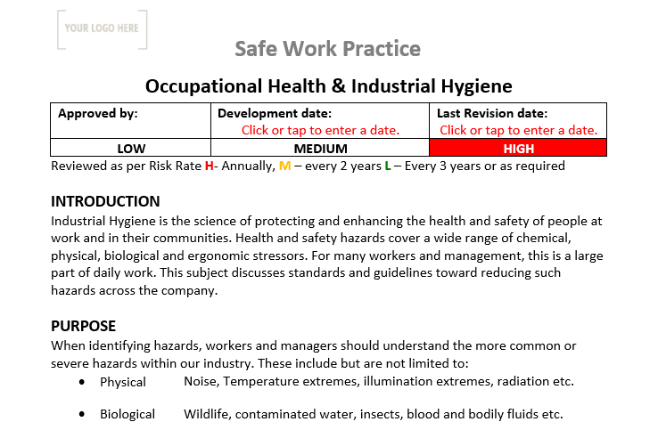 Occupational Health & Industrial Hygiene Safe Work Practice