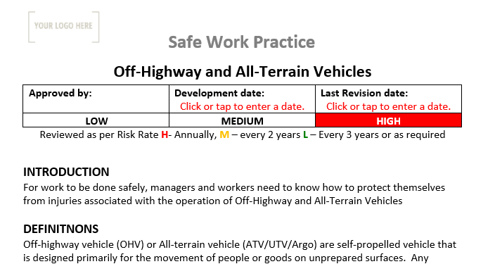 Off-Highway and All-Terrain Vehicles Safe Work Practice