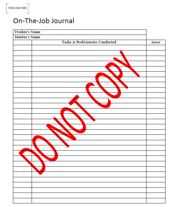 On-The-Job Journal