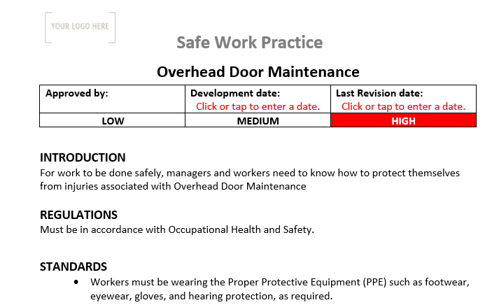 Overhead Door Maintenance & Repair Safe Work Practice