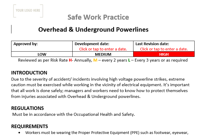 Overhead & Underground Power lines Safe Work Practice