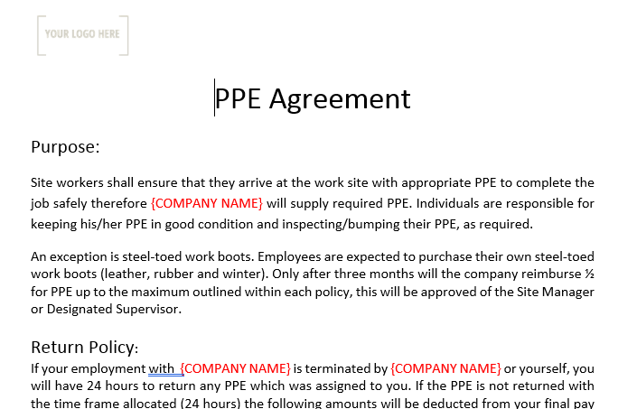 Personal Protective Equipment Agreement