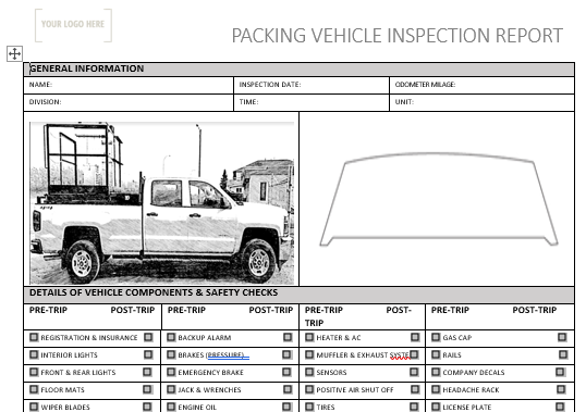 Packing Vehicle Pre Use Inspection