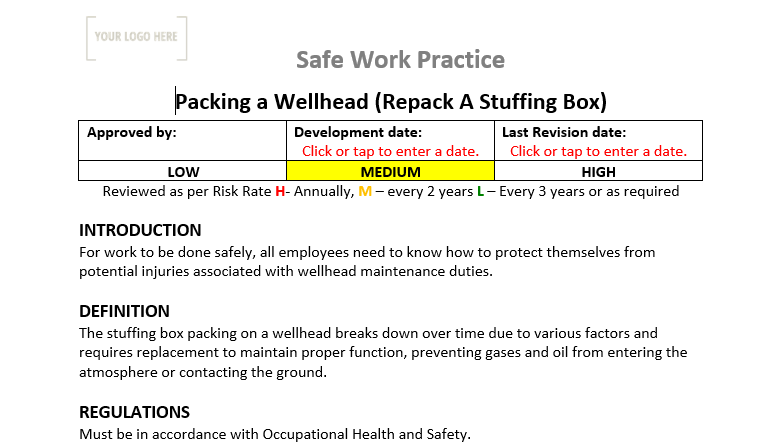 Packing a Well Head Safe Work Practice