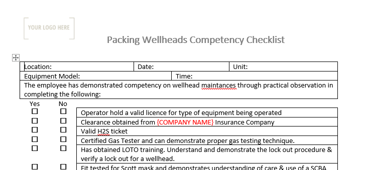 Packing well head Competency Checklist