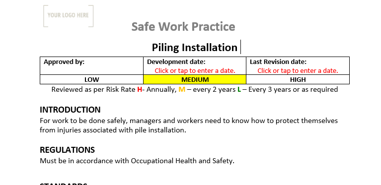 Piling Installation Safe Work Practice