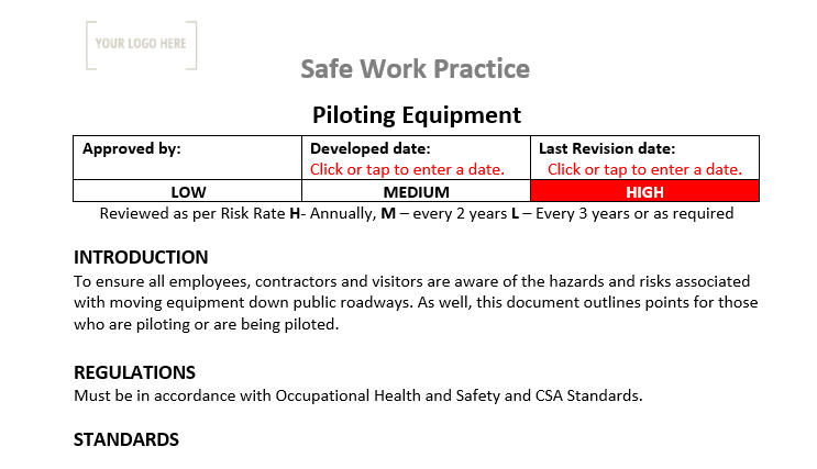 Piloting Equipment Safe Work Practice
