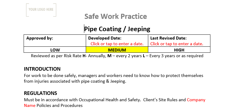 Pipe Coating & Jeeping Safe Work Practice
