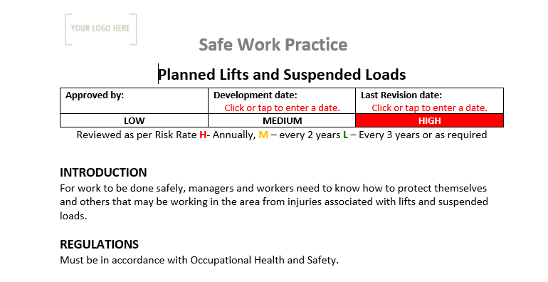 Planned Lift Safe Work Practice