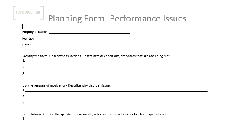 Planning Form – Performance Issues
