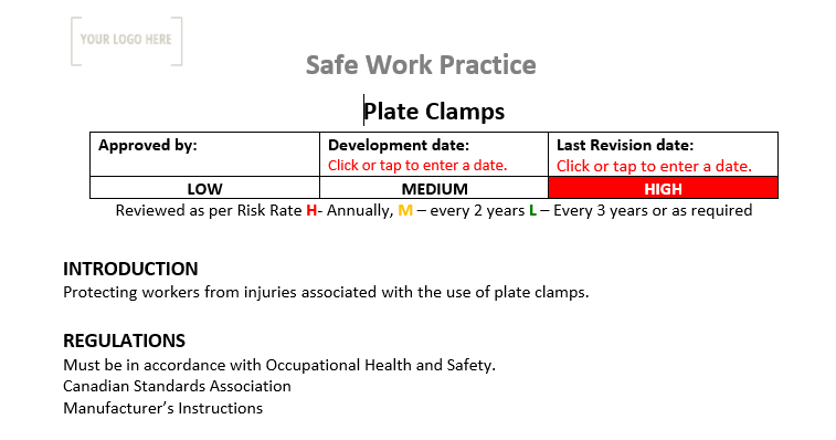 Plate Clamps Safe Work Practice