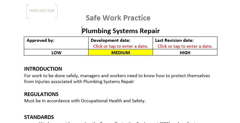 Plumbing Systems Maintenance & Repair Safe Work Practice