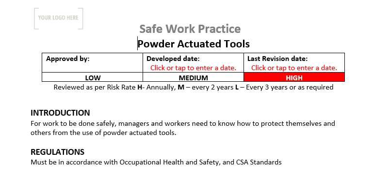 Powder Actuated Tools Safe Work Practice