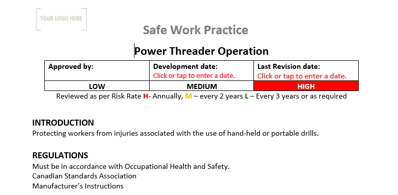 Power Threader Operation Safe Work Practice