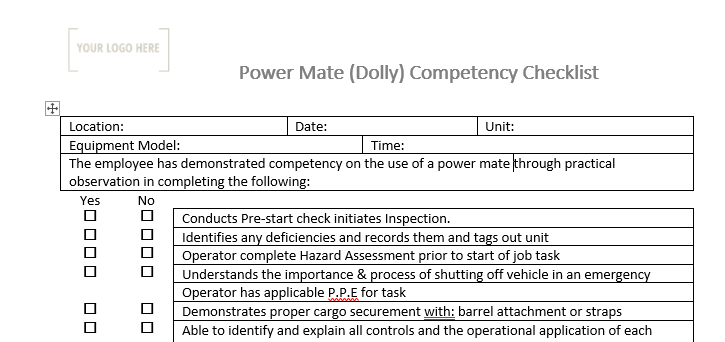 Powermate Dolly Competency Checklist