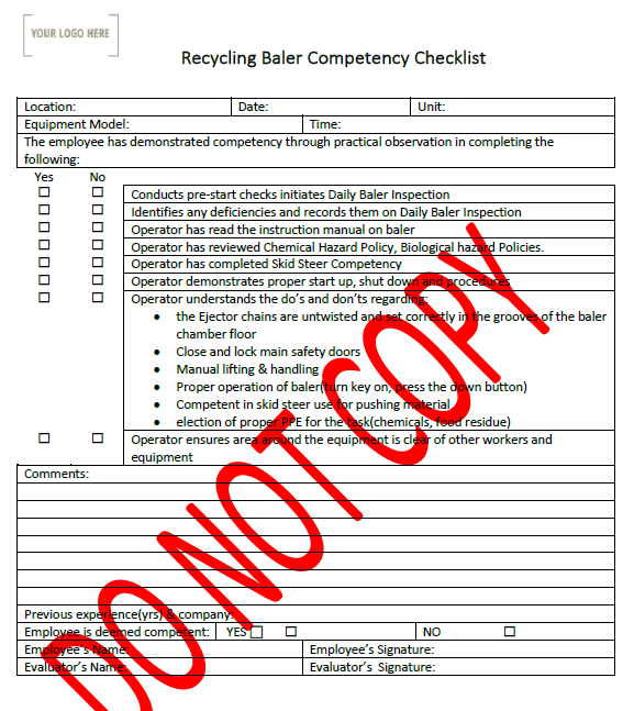 Recycling Baler Operation Competency Checklist