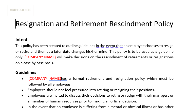 Resignation & Retirement Rescindment Policy